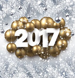Gray 2017 New Year background. 2017 New Year background with golden Christmas balls. Vector illustration Royalty Free Stock Photo