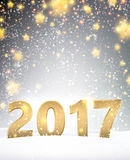 Gray 2017 New Year background. Gray 2017 New Year background with golden stars. Vector illustration Royalty Free Stock Photos