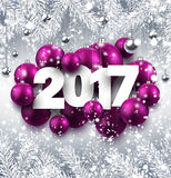 Gray 2017 New Year background. 2017 New Year background with pink Christmas balls. Vector illustration Stock Images