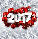 Gray 2017 New Year background. 2017 New Year background with red Christmas balls. Vector illustration Royalty Free Stock Photography