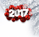 Gray 2017 New Year background. 2017 New Year background with red Christmas balls. Vector illustration Stock Photography