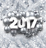 Gray 2017 New Year background. 2017 New Year background with silver Christmas balls. Vector illustration Stock Image