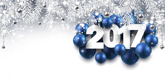 Gray 2017 New Year banner. 2017 New Year banner with blue Christmas balls. Vector illustration Royalty Free Stock Images