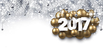 Gray 2017 New Year banner. 2017 New Year banner with golden Christmas balls. Vector illustration Stock Photography