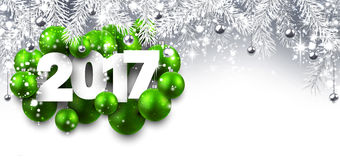 Gray 2017 New Year banner. 2017 New Year banner with green Christmas balls. Vector illustration Stock Images