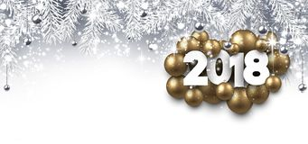Gray 2018 New Year banner. Royalty Free Stock Image