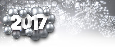 Gray 2017 New Year banner. Silver 2017 New Year banner with Christmas balls. Vector illustration Stock Photography