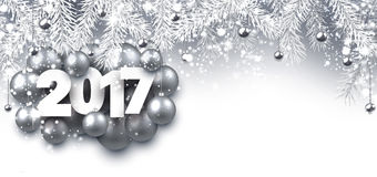 Gray 2017 New Year banner. 2017 New Year banner with silver Christmas balls. Vector illustration Royalty Free Stock Photo