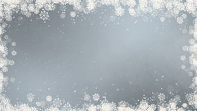 Gray New Year Snowflakes Frame stock footage