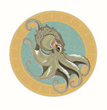 Gray octopus. Big black octopus on the background of Greek ornament vector illustration