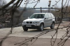 Chernigov, Ukraine - November, 2017.Gray off-road car BMW X5. A private car parked on the sidewalk. Gray off-road car BMW X5. A private car parked on the royalty free stock images
