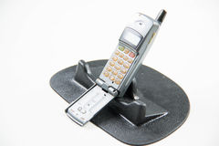 Gray old mobile phones. Solid color background and shabby gray old mobile phones Stock Photography