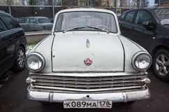Gray old timer Moskvitch-403 car Royalty Free Stock Images