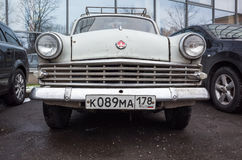 Gray old-timer Moskvitch-403 compact car Stock Photo