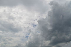 Gray ominous storm cloud. Rainy gray cloud sky background stock images