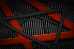 Gray and orange carbon fiber frame on black grille background. Metal background and texture. 3d illustration material design Stock Photo