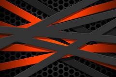 Gray and orange carbon fiber frame on black mesh carbon backgrou. Nd. metal background and texture. 3d illustration material design Stock Image