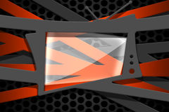 Gray and orange carbon fiber frame on black mesh carbon. Background. metal background and texture. 3d illustration material design Royalty Free Stock Photo