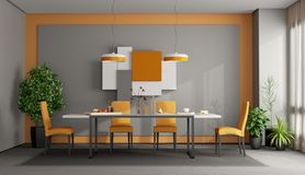 Gray and orange dining room stock illustration