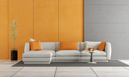 Gray and orange living room Royalty Free Stock Images
