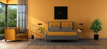 Gray and orange master bedroom vector illustration