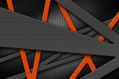 Gray and orange metal frame on black grille background. Stock Photography