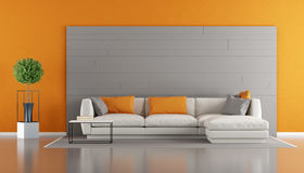 Gray and orange modern living room Royalty Free Stock Image