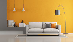 Gray and orange modern lounge Royalty Free Stock Photography