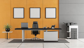 Gray and orange modern office Stock Photos