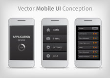Gray and orange vector mobile user interface conception royalty free illustration