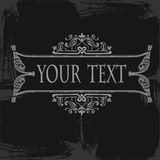 Gray Ornate Grunge Scroll  Banner Quad Royalty Free Stock Photos