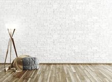 Ottoman and floor lamp over brick wall 3d rendering. Gray ottoman covered with brown plaid and floor lamp over brick wall, room interior background 3d rendering Royalty Free Stock Images