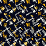 Gray ovals and dark objects vector illustration seamless pattern Stock Image