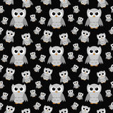 Gray Owls on Black Textured Fabric Repeat Pattern Background Royalty Free Stock Photo