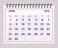 Gray page April 2018 on mandala background. Monthly calendar April year 2018 on mandala background.  Layout a5 horizontal page of spiral calendar year 2018 Royalty Free Stock Photos