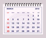Gray page March 2018 on mandala background. Monthly calendar March year 2018 on mandala background.  Layout a5 horizontal page of spiral calendar year 2018 Stock Photography