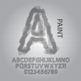 Gray Paint Alphabet and Numbers Vector Stock Photos