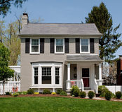 Gray Painted Brick House Stock Images