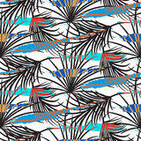 Gray palm leaves with blue strokes seamless vector pattern. Stock Photography