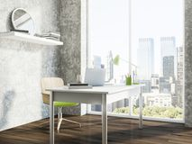Gray panoramic home office workplace corner Royalty Free Stock Images