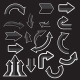 Gray paper arrow stickers with shadows stock images