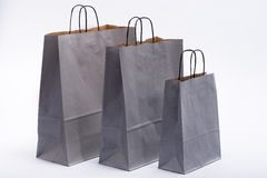 Gray paper bag with handles for shopping Stock Images