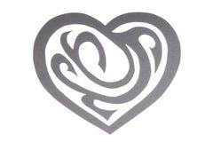 Gray Paper Heart mit der Verzierung lokalisiert auf Weiß Stockfotografie