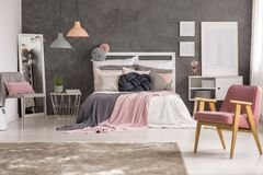 Gray and pastel girl bedroom stock images