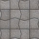 Gray Pavement with a Pattern of Cracked Squares. Stock Photos