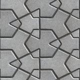 Gray Paving Slabs Built of Crossed Pieces a Stock Photo