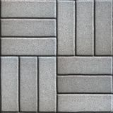 Gray Paving Slabs of Rectangles Laid Out on Three Stock Image