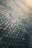 Gray paving stone path goes away the prospect in sunset Stock Images
