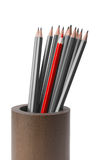 Gray pencils and one red pencil. A set of pencils gray and one red pencil in a wooden cup isolated on white background Stock Image