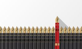 Gray pens and one red pen. Think different concept. Vector illustration vector illustration